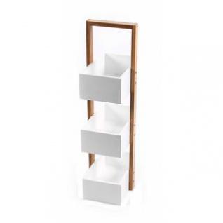 Bambus-Kistenregal von Homestyle, Bambusgestell, MDF-Kisten, 3 Boxen, Materialmix, natur-weiß, Höhe ca. 65 cm