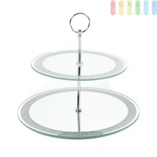 Spiegel-Etagere von Alpina mit 2 Ebenen aus verspiegeltem Glas, Metall-Gestänge, Tragering, versilbertem Glitzerrand, Rund ?ca.20 / 25cm, Höheca.22 cm