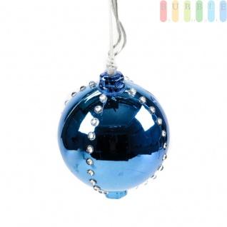 Weihnachtskugel mit 44 LEDs von Christmas Gifts, 6 Licht-Modi, Kunststoff, Christbaumkugel, Adventsdekoration, mit Aufhänger, Ø ca. 8 cm, Netzkabel ca. 155 cm, 230V/50Hz, Farbe Blau