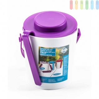 Eiskübel von Fresh & Cold mit Zange, Henkel und Deckel, doppelwandig, Größeca.16, 2x14cm, Farbe Weiß/Violett