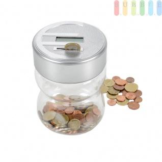 Spardose mit digitalem Zählwerk, erkennt und zählt Münzen von 1 Ct. bis 2 Euro, Reset-Knopf, Batteriebetrieb, Griffmulden, Kunststoff, Größe (HxØ) ca. 16, 5 x 11, 5 cm