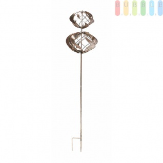Gartenstecker von ArtiCasa Desgin Doppel-Windmühle, Shabby-Look, Gabel-Stecker, Metall, Höheca.90cm