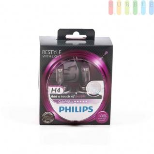 Scheinwerferlampe-H4 PHILIPS ColorVision für farbigen Glanz im Scheinwerfer, P43t-38, 12V/55W, Farbe pink