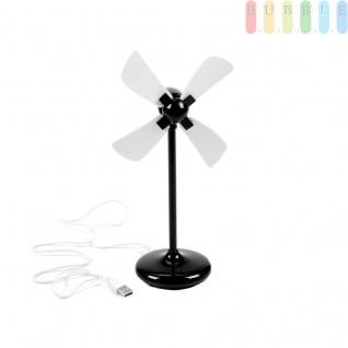 Mini-Tischventilatoren, ?ca.8cm, Höheca.21cm, Batteriebetrieb und USB-Kabel, Farbe Schwarz