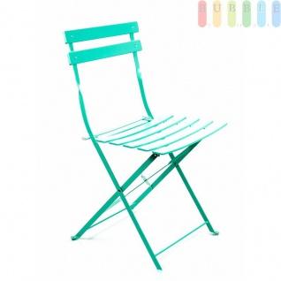 Bistro Balkon Garten Set 3 teilig, Klapptisch Ø 60 cm 2x Klappstühle, Retro-Design, für innen und außen, Farbe türkis - Vorschau 5