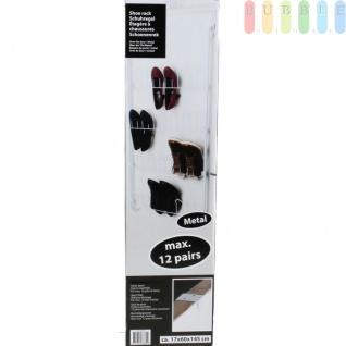 Schuh-Hänge-Regal, beschichtetes Metall, für max. 12 Paar Schuhe, weiß, ca. 145 x 60 x 17 cm