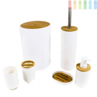 Badset Badezimmer Zubehör Set WC Bad Kosmetikeimer Toilettenbürste Seifenspender Seifenschale Zahnputzbecher Zahnbürstenhalter, Kunststoff und Bambus