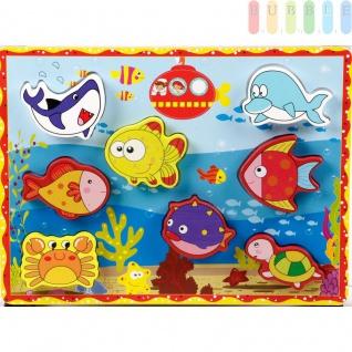 """Holzpuzzles """" Meerestiere"""" für Kleinkinder von Marionette mit 8 Puzzleteilen auf Grundplatte, bunt, ca. 30 x 22 cm"""