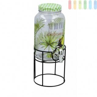 Glas Getränkespender auf Metall-Ständer mit Zapfhahn in Metall-Optik und Schraubverschluss von Cuisine Elegance, Volumen ca. 3 L, Design Tucan