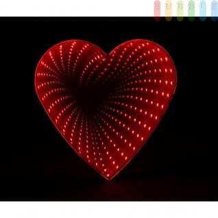 Endlosspiegel von Grundig, 34 warm weiße LEDs, Batteriebetrieben, rote Lichteffekte auf schwarzem Hintergrund, ca. 18 cm