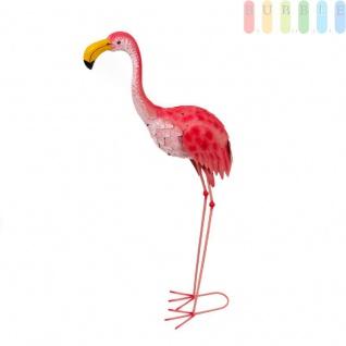 Große Deko-Figur Flamingo für Garten, Terrasse, Wintergarten und Innenräume, dekorative Blechfigur, Flügel etwas beweglich, Metall, rosa, Höhe ca. 104 cm
