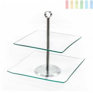 Etagere von Alpina mit 2 Ebenen aus Glas, Metall-Gestänge, quadratisch, Höhe 28cm