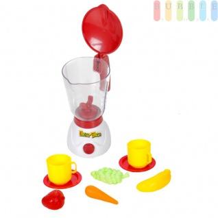 Kinder Spielzeug Mixer-Set, Küchenspielzeug Mixer mit Klapp-Deckel und Mengenskala bis 350 ml, Batteriebetrieb, 2 Tassen mit Untertassen, Karotte, Banane etc., Kunststoff
