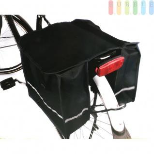 Doppel-Satteltasche für Fahrrad-Gepäckträger, wasserfest, Taschen mit reflektierendem Streifen, verschließbar, Rückwand verstärkt, schwarz