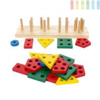 Holz Steckspielzeug für Kleinkinder, 20 Teile plus Holzsteckblock, 5 verschiedene Formen, 4-farbiges Holzspielzeug, Steckpuzzles entwicklungsfördernd