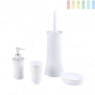 Badezimmer Set von Alpina, 4 tlg. Zahnputzbecher, Seifenspender, Seifenschale und Toiletten-Bürste mit Halter, Kunststoff, weiß