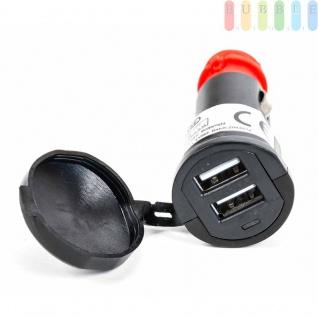 KFZ-Ladegerät/-Stecker All Ride mit 2 x USB-Buchsen für Zigarettenanzünder und Normsteckdose mitDeckel, Betriebsleuchte blau, 12-24V, max.2, 1A - Vorschau 2