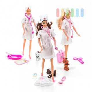 Krankenschwester-Modepuppen-Set von EDDY TOYs mit 4 oder 5-teiligem Zubehör, Größe ca. 29 cm, lieferbar in 3 Modell-Varianten