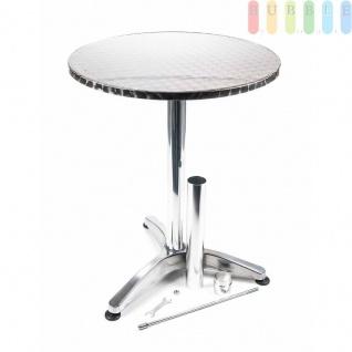 Steh- oder Bistro-Tisch von Lifetime Garden, Tischplatte klappbar, Höhe wählbar, Alu-Design kreismattiert, Größeca.75/114cm x 60cm - Vorschau 5