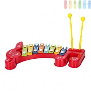 Xylophon für Kinder, Lernspielzeug, Musikinstrument für Babys, Kleinkinder und Kids im Vorschulalter, aus Kunststoff mit 8 Klangplatten (1 Oktave), 2 Schlegel