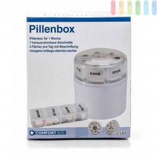 Medikamentendosierer / Pillenbox von ComfortAid, 7Tage einzeln entnehmbar, 4 Fächer, beschriftet, Deutsch