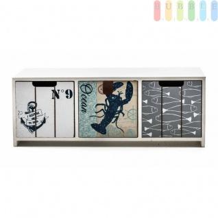 Mini-Kommode Arti Casa aus MDF, 3Schubladen, maritimerShabby-Look, Griff-Lascheund-Mulden, Größeca.33x12, 5x10cm