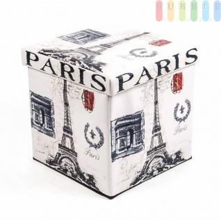 Polsterhocker, Kunstleder, faltbar, mit Stauraum im Würfel, Maße38x38cm, Paris-Design - Vorschau 2