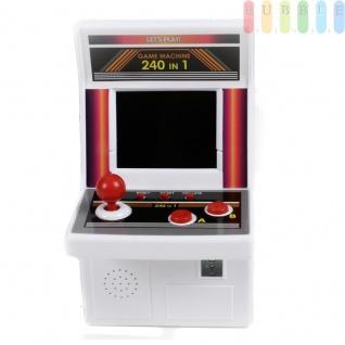 Mini Retro-Spielautomat mit 240 Spielen, 8 Wege-Joystick, 3 Wahl-Buttons, 2 Action-Buttons, 5 Stunden Spielzeit, Batteriebetrieben