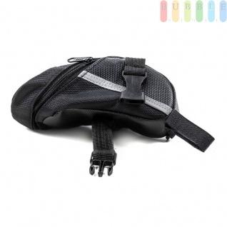 Fahrrad Satteltasche von Dunlop, Klett-/Klick-Montage, reflektierendeStreifen, wasserdicht, Größeca.20x10/5x8cm, Farbe Schwarz - Vorschau 5