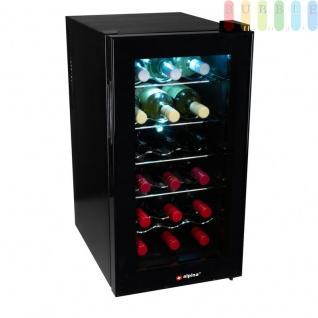 Weinkühler für 18 Weinflaschen, Weinkühlschrank mit Innenbeleuchtung An/Aus-Schalter, Abtaufunktion, Thermostat, schwarz