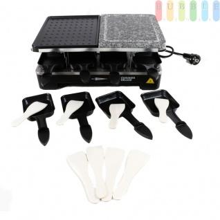 Raclette-Steingrill von Cuisinier Deluxe für 8 Personen, Thermostat, Kontrollleuchte, schwarz, Größe37x14, 5x23cm, 1200-1400W