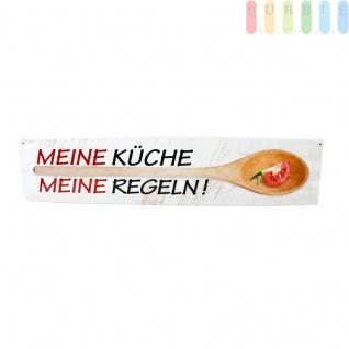 Blechschild MEINE KÜCHE MEINE REGELN! von Blechwaren Fabrik, Straßenschild, gewölbte Qualität, einfache Montage durch vorgebohrte Schraubenlöcher, ca. 46 x 10 cm
