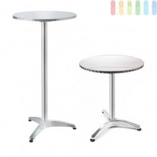 Steh- oder Bistro-Tisch von Lifetime Garden, Tischplatte klappbar, Höhe wählbar, Alu-Design kreismattiert, Größeca.75/114cm x 60cm