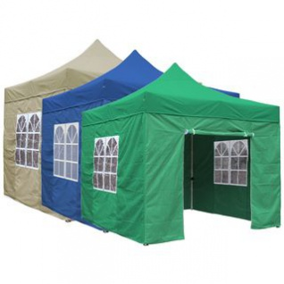Gartenpavillon / Falt-Pavillon, 3 x 3 m, 4 Seitenwände mit Reißverschluss-Befestigung, wasserdicht, lieferbar in den Farben Beige, Blau, Grün oder Weiß
