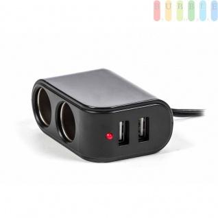 Adapter/Ladegerät ALL Ride für Normsteckdosen, 2x Zigarettenanzünder 2 x USB, Kontrollleuchte, 12/24V,5V/3, 1A - Vorschau 3