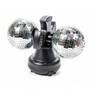 Doppel-Disco-Spiegel-Kugel-Leuchte von PartyFunLights, 2 Spiegel-Kugel rotierend, Ein-Aus-Schalter, 32 bunte LEDs, 6W