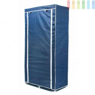 Faltkleiderschrank, 1Kleiderstange, 6Ablagen, werkzeugloseMontage, Größe 170x87x45cm, FarbeBlau-Weiß