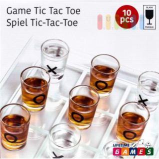 Trinkspiel Tic Tac Toe von Lifetime Games, Spielfeld und Gläser aus Glas, 2 Spieler, 10-teilig