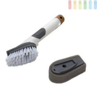 2-in-1 Spülbürste mit Spülmittelspender und Spülschwamm, Clip-Funktion zum Wechseln, Soft Touch-Dosierknopf, zum Reinigen von Tellern, Töpfen und Pfannen