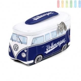 VW T1 Bus Neopren-Tasche in 3D-Optik, multifunktional, VW-Kollektion, Retro-Design, doppelter Reißverschluss, Innentaschen, Henkel, Größe ca. 24 x 12 x 8 cm, blau/weiß