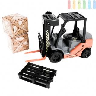 Gabelstapler von Gear Box mit Friktionsantrieb, 2 Kisten, 1 Palette, manuelle Hebefunktion, Länge ca. 25 cm