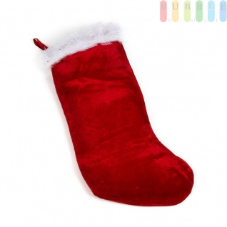 Weihnachtsstiefel, Nikolaussock zum Befüllen aus weichem Velour, rot/weiß
