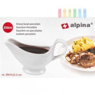 Sauciere von Alpina aus Porzellan, Design zeitlos-schlicht, Volumen 250 ml, Farbe Weiß