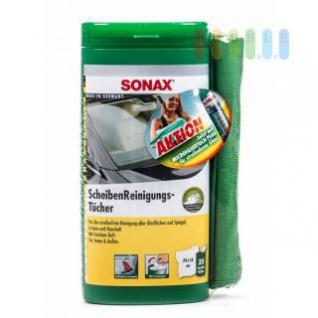 Scheibenreinigungs-Tücher Plus von Sonax in Spenderbox, Auto und Haushalt, Spiegel und Glas, frischer Duft, 25 Stück plus Mikrofasertuch