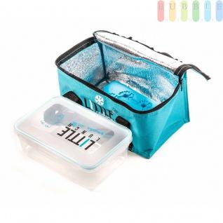 Kühltasche von Fresh&Cold im Soft-Design mit Lunchbox(1, 1l) und Kühlakku, Volumen 2, 4 l, Größeca.11x22x15cm, Farbe Blau