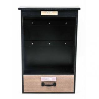 Schlüsselkasten von Arti Casa offen mit Schublade, Shabby Chic schwarz, 6 Haken, 2 Aufhänger, Größe 30 x 45 x 9 cm