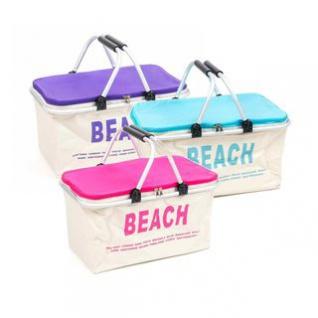 Kühltasche von Fresh& Cold im Korb-Design, Alu-Gestell, faltbar, Volumen 32 Liter, Breite ca. 49 cm, Farbkombination mit Pink, Blau oder Violett