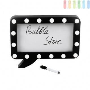 Sprechblasen-Schreibtafel im Comic-Stil von Grundig, rechteckig, 16 LEDs, 1 abwischbarer Marker, Batteriebetrieb, ca. 32 x 23 x 5 cm, schwarz/weiß
