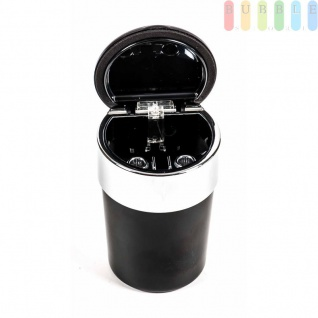 Aschenbecher für Getränkehalter, beleuchtet mit Glutlöscher, Batterie austauschbar, Farbe Schwarz