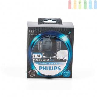 Scheinwerferlampe-H4 PHILIPS ColorVision für farbigen Glanz im Scheinwerfer, P43t-38, 12V/55W, Farbe blau